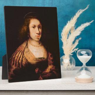 Portrait of a young woman plaque