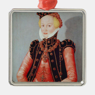 Portrait of a Young Woman Silver-Colored Square Decoration