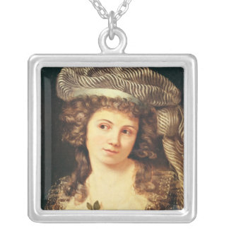 Portrait of a young woman silver plated necklace