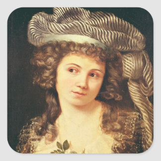 Portrait of a young woman square sticker
