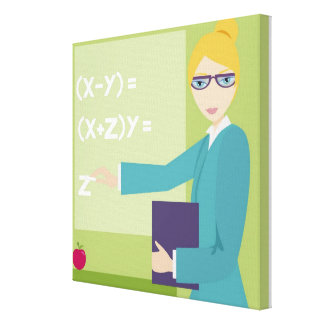 Portrait of a young woman teaching canvas print