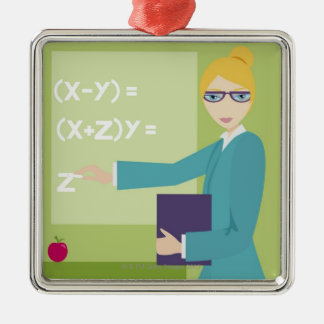 Portrait of a young woman teaching christmas ornament