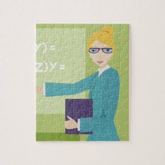 Portrait of a young woman teaching jigsaw puzzle