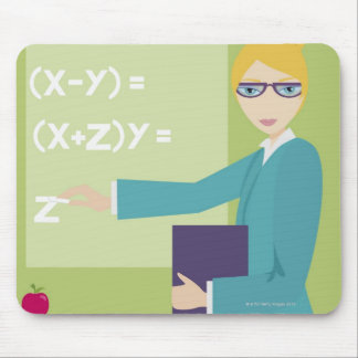 Portrait of a young woman teaching mouse mat
