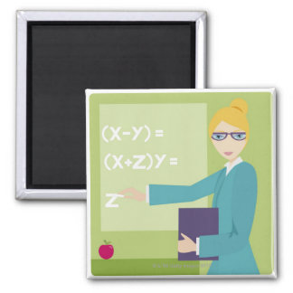 Portrait of a young woman teaching square magnet