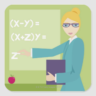 Portrait of a young woman teaching sticker