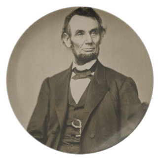 Portrait of Abraham Lincoln (1809-65) (b/w photo) Plate