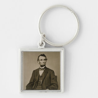 Portrait of Abraham Lincoln (1809-65) (b/w photo) Silver-Colored Square Key Ring