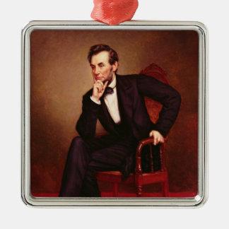 Portrait of Abraham Lincoln Silver-Colored Square Decoration