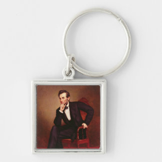 Portrait of Abraham Lincoln Silver-Colored Square Key Ring