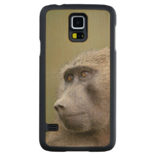 Portrait of adult Olive baboon (Papio anubis) Carved Maple Galaxy S5 Case