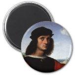 Portrait of Agnolo Doni by Raphael or Raffaello 6 Cm Round Magnet