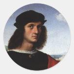 Portrait of Agnolo Doni by Raphael or Raffaello Round Sticker