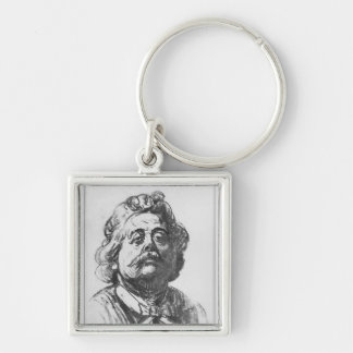 Portrait of Albert Ernest Carrier-Belleuse Silver-Colored Square Key Ring