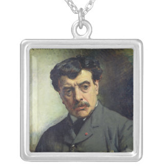 Portrait of Alexander Falguiere  1887 Silver Plated Necklace