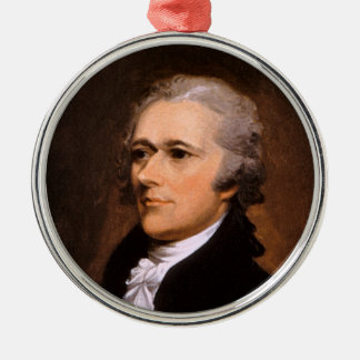 Portrait of Alexander Hamilton by John Trumbull Silver-Colored Round Decoration