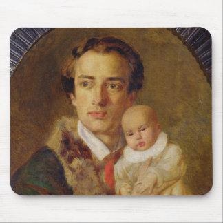 Portrait of Alexander Herzen with his son, 1840 Mouse Mat
