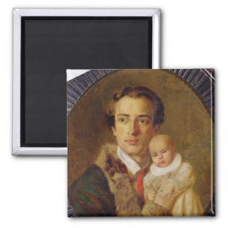 Portrait of Alexander Herzen with his son, 1840 Square Magnet