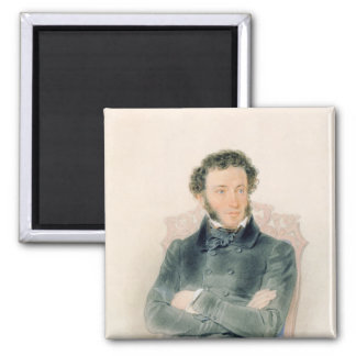 Portrait of Alexander Pushkin  1836 Square Magnet