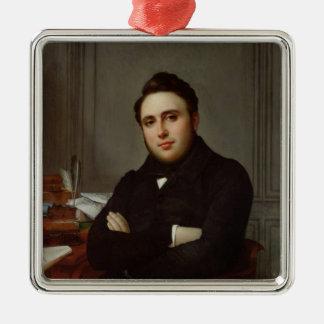 Portrait of Alexandre Auguste Ledru-Rollin Silver-Colored Square Decoration