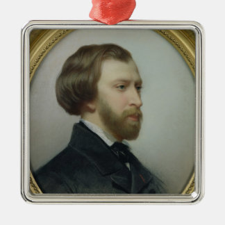 Portrait of Alfred de Musset  1854 Silver-Colored Square Decoration