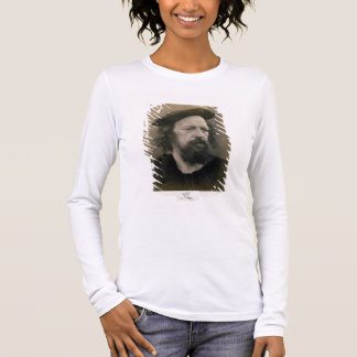 Portrait of Alfred, Lord Tennyson (1809-92) (b/w p Long Sleeve T-Shirt