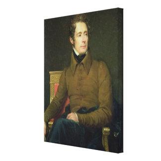 Portrait of Alphonse de Lamartine , 1831 Canvas Print