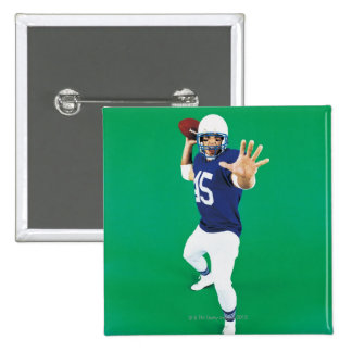 Portrait of an American Football Player 15 Cm Square Badge
