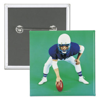 Portrait of An American Football Player Holding 15 Cm Square Badge