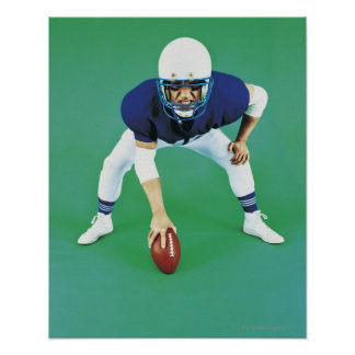 Portrait of An American Football Player Holding Poster