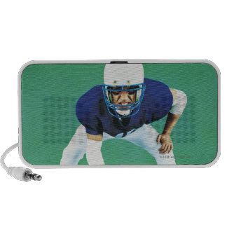 Portrait of An American Football Player Holding Travelling Speaker