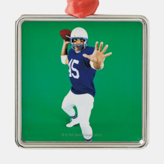 Portrait of an American Football Player Silver-Colored Square Decoration