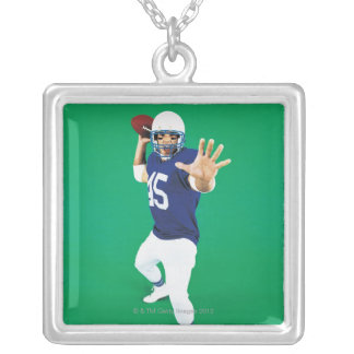 Portrait of an American Football Player Silver Plated Necklace