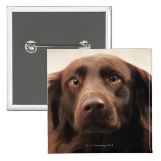 Portrait of an apprehensive young female 15 cm square badge