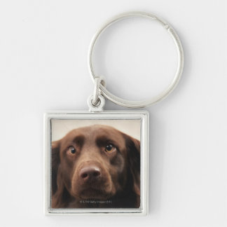 Portrait of an apprehensive young female Silver-Colored square key ring
