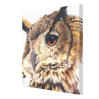 Portrait of an eagle owl canvas fine-art print gallery wrap canvas