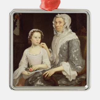 Portrait of an Elderly Lady and a Young Girl (oil Christmas Ornament