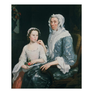 Portrait of an Elderly Lady and a Young Girl Poster