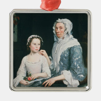 Portrait of an Elderly Lady and a Young Girl Silver-Colored Square Decoration