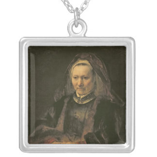 Portrait of an Elderly Woman, c. 1650 Silver Plated Necklace