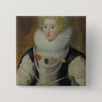Portrait of an Elizabethan Lady with a Parrot 15 Cm Square Badge