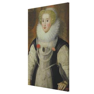 Portrait of an Elizabethan Lady with a Parrot Canvas Print