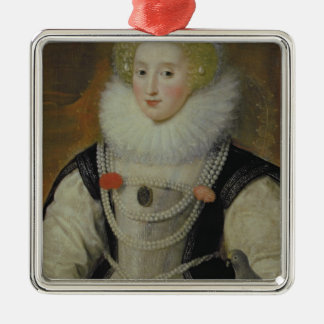 Portrait of an Elizabethan Lady with a Parrot Silver-Colored Square Decoration