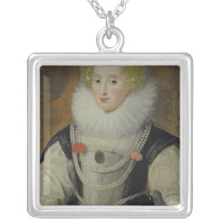 Portrait of an Elizabethan Lady with a Parrot Silver Plated Necklace