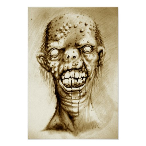 portrait of an irradiated zombie with a cleft lip poster