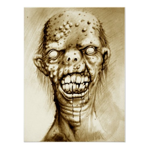 Portrait of an irradiated zombie with a cleft lip print