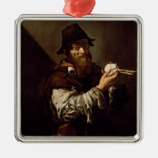 Portrait of an Old Man with an Onion (oil on canva Christmas Ornament