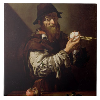 Portrait of an Old Man with an Onion (oil on canva Tile