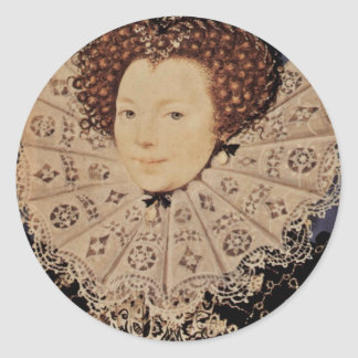 Portrait Of An Unknown Lady Oval By Nicholas Hilli Round Sticker