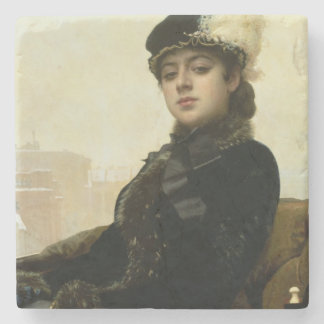 Portrait of an Unknown Woman, 1883 Stone Beverage Coaster